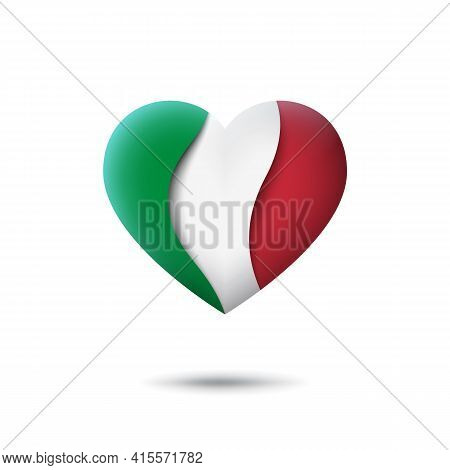 Italy Flag Icon In The Shape Of Heart. Waving In The Wind. Abstract Waving Italy Flag. Italian Trico