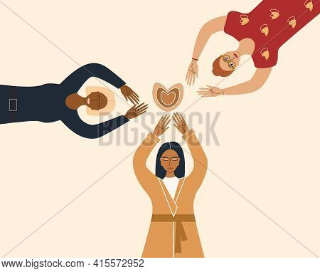 Women's Solidarity, Happy Sisterhood, A Group Of Women Of Different Nationalities, Female Love. Post