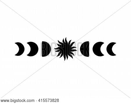Moon Phases Vector Illustration. Contemporary Art With Crescent Moon Silhouette And Sun. Celestial T