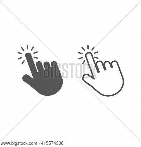 Touch Vector Icons.hand Cursor Symbol. Computer Hand Cursor Click, Hand Pointer Clicking Effec Tblac