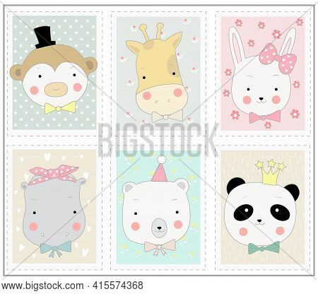 The Cute Animal Cartoon In Picture Frame. Hand Drawn Cartoon Style
