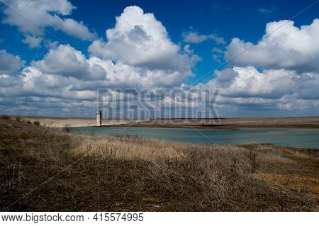 Reservoir Crimea, Mezhgornoye. Beautiful Landscape With A View Of The Reservoir, Lake, Clouds, Water