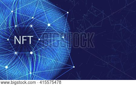 Nft Non-fungible Token Concept On Polygonal Abstract Background. Plexus Connect Lines With Polygonal