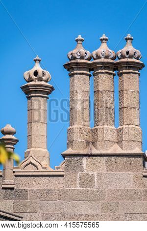 The Walls And Towers Of Old Palace On The Background Of Blue Sky. Vorontsov Palace, Or Alupka Palace