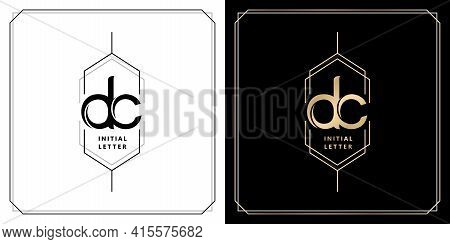Dc Initial Letter And Graphic Name, Dc Monogram Model With Hexagonal Frames, For Wedding Couple Name