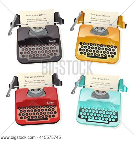 Flat Set Of Colorful Vintage Typewriters Isolated On White Background Vector Illustration