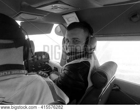 Pilot instructor teach student flight. Small private airclub and pilots school. 27 March 2021. Kiev Region, Ukraine