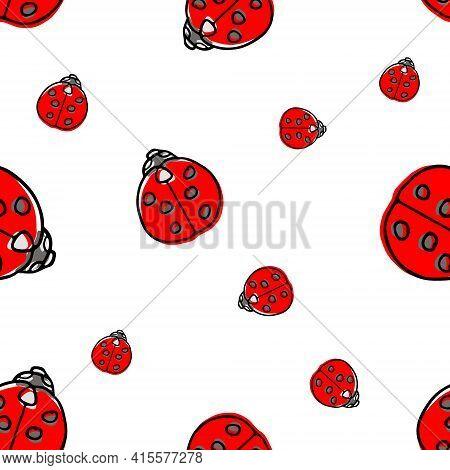Ladybug Ladybird Cute Seamless Pattern Vector Illustration. Seamless Pattern For Printing Brochure,