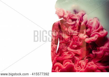 Silhouette Female Portrait. Feminine Nature. Passion Love. Spiritual Energy. Conceptual Art. Elegant