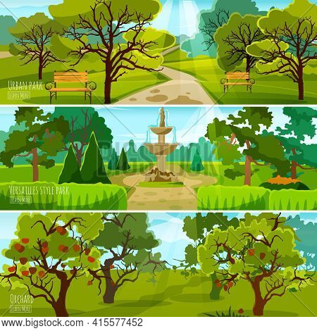 Garden Landscape Banners Set Of City Park For Relaxation Orchard And Park In Versatile Style Flat Co