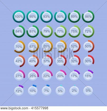 Vector Digital Count Down Circle Board. Circular Sector Percentage Diagrams- Indicator With Gradient