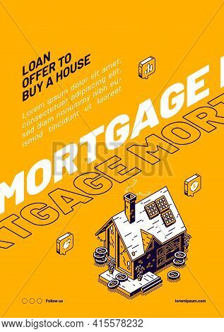 Mortgage Isometric Web Banner, Loan Offer To Buy A House. Hypothec Debt Service And Legal Adjustment