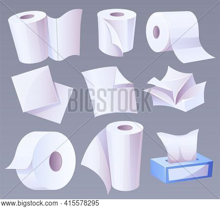 Cellulose Production Toilet Paper, Towel With Perforation, Napkins In Carton Box, Crumpled Page And