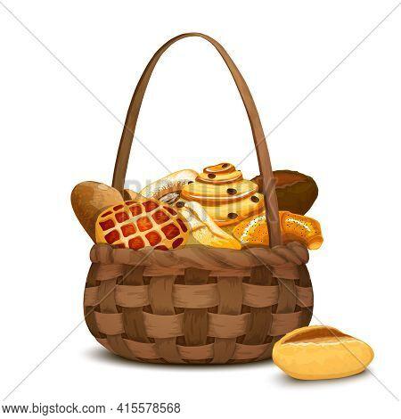 Fresh Bakery And Bread In Traditional Handmade Hamper Basket Vector Illustration
