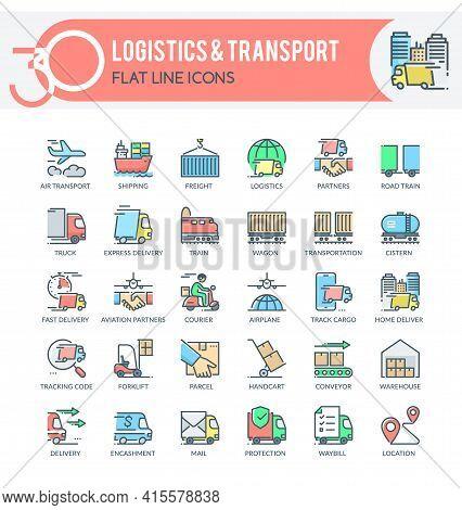 Set Of Filled Outline Icons On Following Topics Logistics, Transport, Delivery And Other. Each Icon