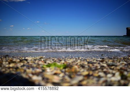 Yellow Warm Sand And Summer Sea With Sky And Free Space. Sunny Summer Day. Summer Vacation Concept.