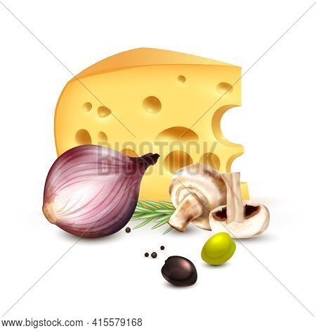 Chunk Of Cheese With Red Onion Champignons Rosemary And Olives Realistic Mediterranean Culinary Back
