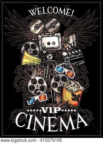 Doodle Cinema Poster With Camera Reels Snack Clapperboard Megaphone And 3d Glasses On Black Backgrou