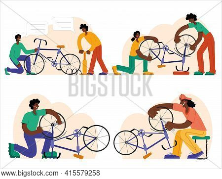 Bicycle Repair. The Mechanic Repairs The Bicycle, The Mechanic Inflates The Wheels. Web Graphics, Ba