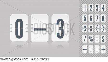 White Scoreboard Number Font. Vector Illustration Template. Coming Soon Web Page Design Template Wit
