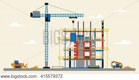Construction Site Illustration. Building Under Construction. Heavy Machinery Work On Site, Bulldozer