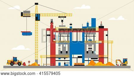 Construction Site Illustration. Building Under Construction. Heavy Machinery Work On Site, Large Cra