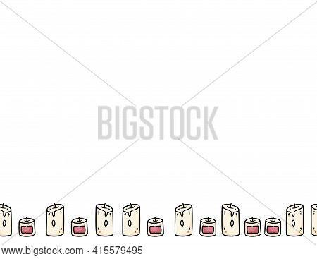 Candles Cartoon Doodles Seamless Border Pattern. Hygge Cozy Ornament. Cozy Boho Craft Postcard Or Ba