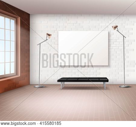 Realistic Spacious Loft With Little Furniture Interior Vector Illustration