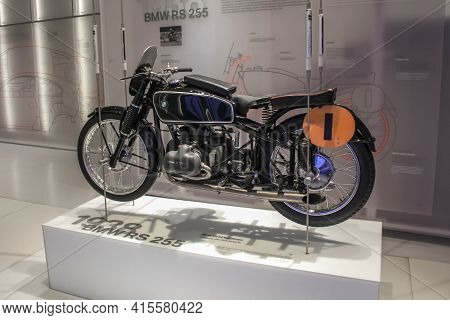 Germany, Munich - April 27, 2011: Vintage Bmw Rs255 Motorcycle, Built In 1938 In The Exhibition Hall