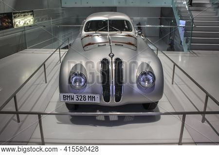 Germany, Munich - April 27, 2011: Bmw 328 Mm Sports Roadster, Built In 1939 Front View In The Exhibi