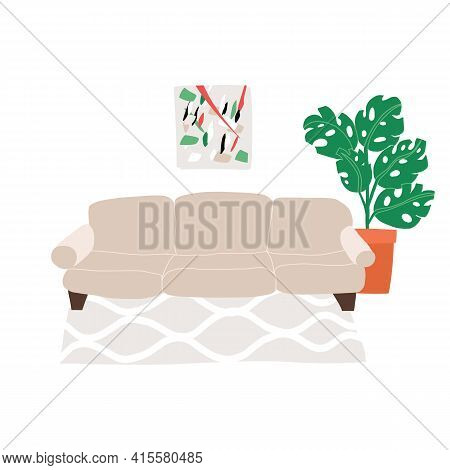 Stylish Living Room Interior Illustration. Modern Sofa, Geometric Rug, Stylish Abstract Picture Unde