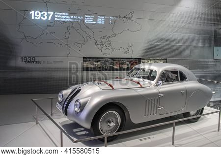 Germany, Munich - April 27, 2011: Bmw 328 Mm Sports Roadster, Built In 1939 Side View In The Exhibit