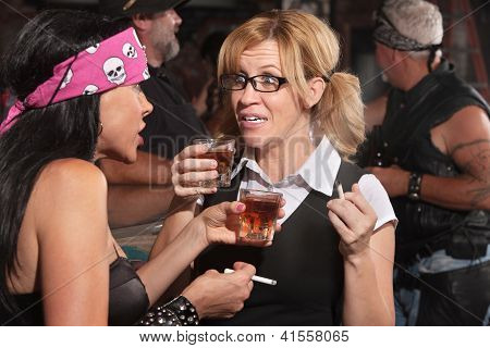 Nerd Talking And Drinking With Woman