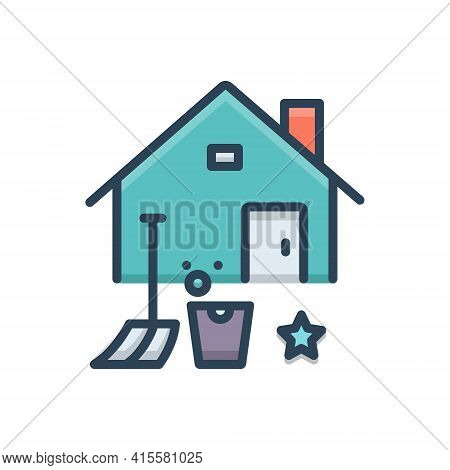 Color Illustration Icon For Home-deep-cleaning  Home Deep Cleaning Bucket