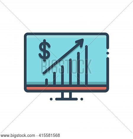 Color Illustration Icon For Business-progress Business Progress Achievement Investment Statistic