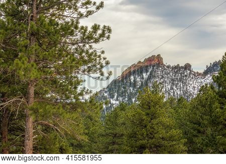Scenic Mountain View On The Top Of Flagstaff Mountain In Boulder Mountain Park, Colorado