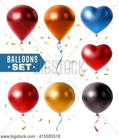 Set Of Glossy Colorful Balloons In Shape Of Sphere, Droplet, Heart And Golden Confetti Isolated Vect