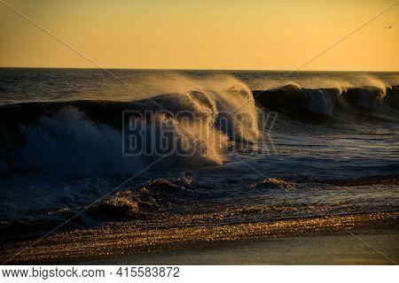 Ocean Or Sea Storm Waves Concept. Sunrise On Tropical Beach. Sunset Landscape. Sunrise On Beach, Sun