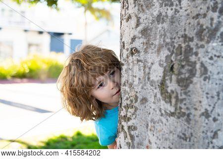 Children Playing Hide And Seek. Peekaboo. Little Kid Hiding By Tree