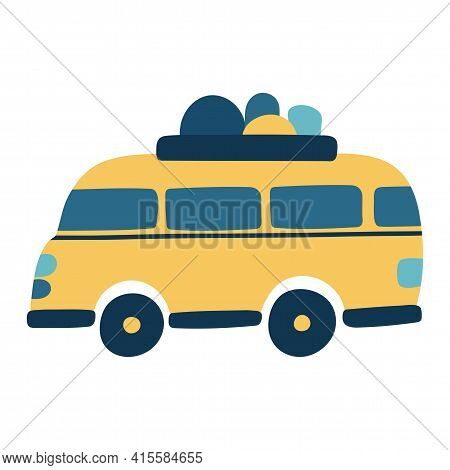 Motorhome Or Bus. The Isolated Object On A White Background. Transport For Travel And Camping. Vecto
