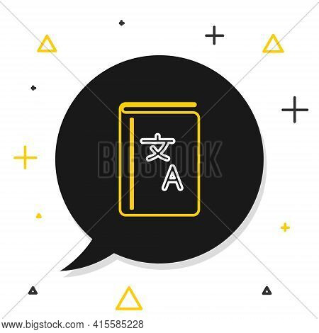 Line Translator Book Icon Isolated On White Background. Foreign Language Conversation Icons In Chat
