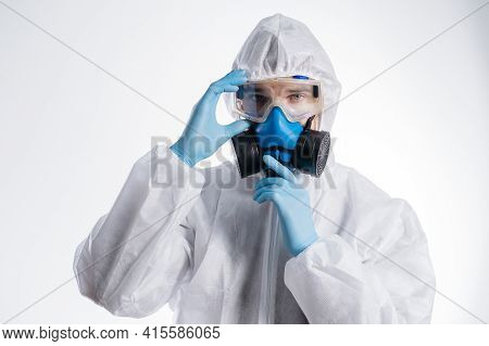 Serious Man In A Virological Protection Suit.