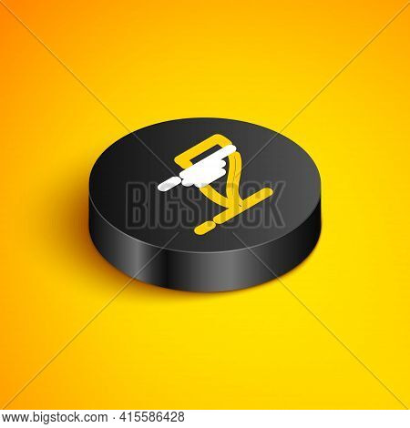 Isometric Line Tornado Icon Isolated On Yellow Background. Cyclone, Whirlwind, Storm Funnel, Hurrica