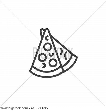 Two Pizza Slices Line Icon. Linear Style Sign For Mobile Concept And Web Design. Triangle Pizza Slic