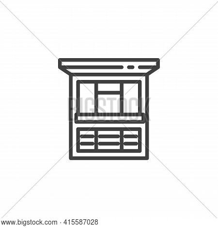 Street Food Kiosk Line Icon. Linear Style Sign For Mobile Concept And Web Design. Street Food Market