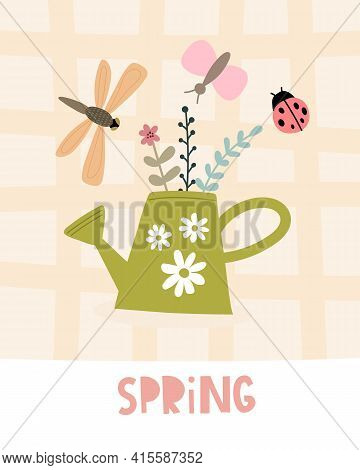 Spring. Cartoon Watering Can, Insects, Dragonfly, Butterfly, Ladybug, Hand Drawing Lettering, Decora