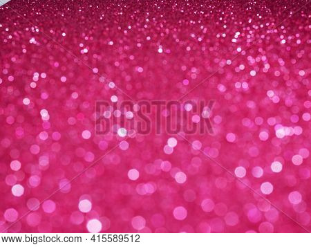 Banner Defocused Abstract Pink Red Twinkle Light Background. Pink Red Glittery Bright Shimmering Bac