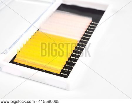 Multi-colored Artificial Eyelashes For Extension, Two Colors In The Macro Palette, Yellow And White.