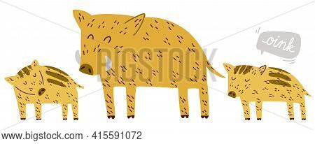 Cute Boar Family Dad And Piglets Hand Drawn Vector Illustration Scandinavian Doodle Style