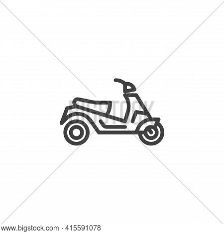 Electric Scooter Line Icon. Linear Style Sign For Mobile Concept And Web Design. E-scooter Outline V
